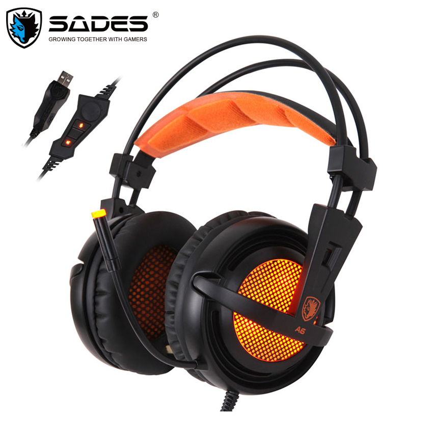 SADES A6 Computer Gaming Headphones 7.1 Surround Sound Stereo Over Ear Game Headset with Mic Breathing LED Lights for PC Gamer<br>