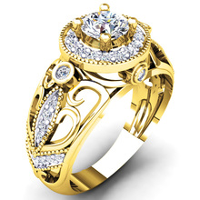 EDI Moissanites Engagement Rings For Women Vintage Leaf Unique 14K Yellow Gold 0.5CT CT Lab Grown Diamond Customize Jewelry