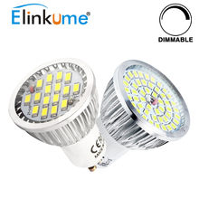 Elinkume GU10 Dimmable LED Bulbs 5W Spotlight 16 48pcs SMD2835 Lamp AC85-265v home lighting for Downlight