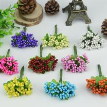 Cheap 10pcs Plastic Artificial Stamen Flowers Bouquet For Wedding Decoration Scrapbooking Decorative Garland Fake Flowers(China)