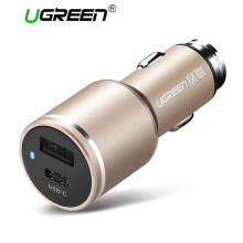 Ugreen Universal Dual USB C Car Charger Smart Type C Car-Charger Fast Mobile Phone Travel Charger For iPhone 8 LG Samsung Xiaomi(China)