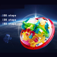 100 138 168 Steps Small Big Size 3D Labyrinth Magic Rolling Globe Ball Marble Puzzle Cubes Brain Teaser Game Sphere Maze