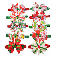 50pcs Cats Dog Christmas Bow Tie Pet Dogs Bowtie Collar Holiday Decoration Acciessories Christmas Grooming Pet Supplies 12colour