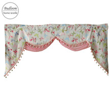 Budloom customized butterfly valance curtain for bedroom kids room window decoration pink valance with sheer for bedroom(China)