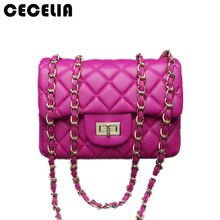 Cecelia 2017 New Fashion leather messenger chain bags brand desinger rhombic women mini Tote Clutch bag handbag crossbody bag(China)