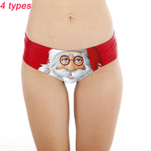 Buy Christmas Girls Funny Briefs Women Panties 3D Print Knicker Santa Claus Intimates Sexy Lady Underpants Underwear Christmas