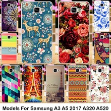 Silicone Plastics For Samsung Galaxy A3 A5 2017 A320 A520 A3200 A5200 Cases Phone Accessories bag Rose Background Covers housing