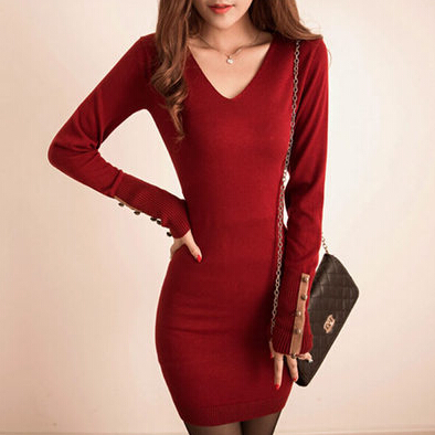 New Korean Women Long Sleeve Dresses Elegant V neck Knitted Sweater Dress Bodycon Casual Slim Basic VestidosÎäåæäà è àêñåññóàðû<br><br>