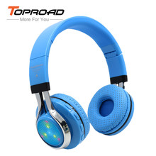 TOPROAD Foldable audifonos Bluetooth Headphones Glowing LED Earphone Wireless Stereo Headset With Microphone FM Radio headphone(China)