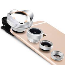 4 in 1 Schott Glas Fisheye Lenses Wide Angle Macro 3X Telephoto Lens Xiaomi redmi 2 3 S 4 note 3 MI4 MI5 Universal Mobile Clips