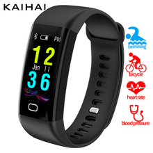 KAIHAI fitness tracker smartband swimming ip68 Heart rate Monitor blood pressure oxygen sms reminder smart bracelet PK mi band 2(China)