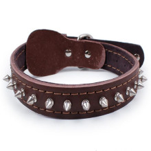 Spiked Dog Collar 100% Genuine Adjustable Cow Leather Pet Neck Strap Rivet Studded Small/Medium/Large Chain Collar For Pet Dogs