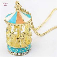 KUNIU NEW  for ladies sweater necklace chain with   Korea Pop Carousel Pendant Nice Necklace