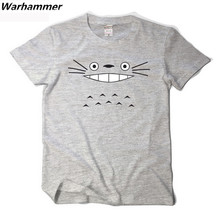 Warhammer TOTORO T shirt Kawaii Cartoon Anime O-neck Short Sleeved 3D T shirt TOTORO Fan Casual Cotton Mens Polks Dot T shirts(China)