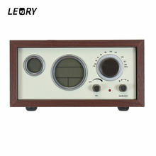 LEORY Wooden Clock FM Radio LED Digital Stereo Retro Desktop Radio With Antenna Temperature Time Display Alarm Clock Function(China)