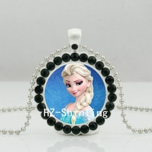 2017 New Snow Queen Necklace Elsa Snow Queen Crystal Pendant Glass Jewelry Silver Ball Chain Necklaces