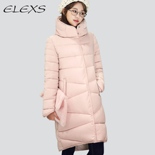 ELEXS 2017 Women Winter Coat Long Slim Thickened Turtleneck Warm Jacket Down Cotton Padded Jacket Outwear Parkas TSP8913(China)