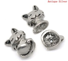 Doreen Box Lovely Bead Caps Cat Antique Silver(Fits 10mm-12mm Beads) 13x16mm 13x14mm,5 Sets    (B22713)