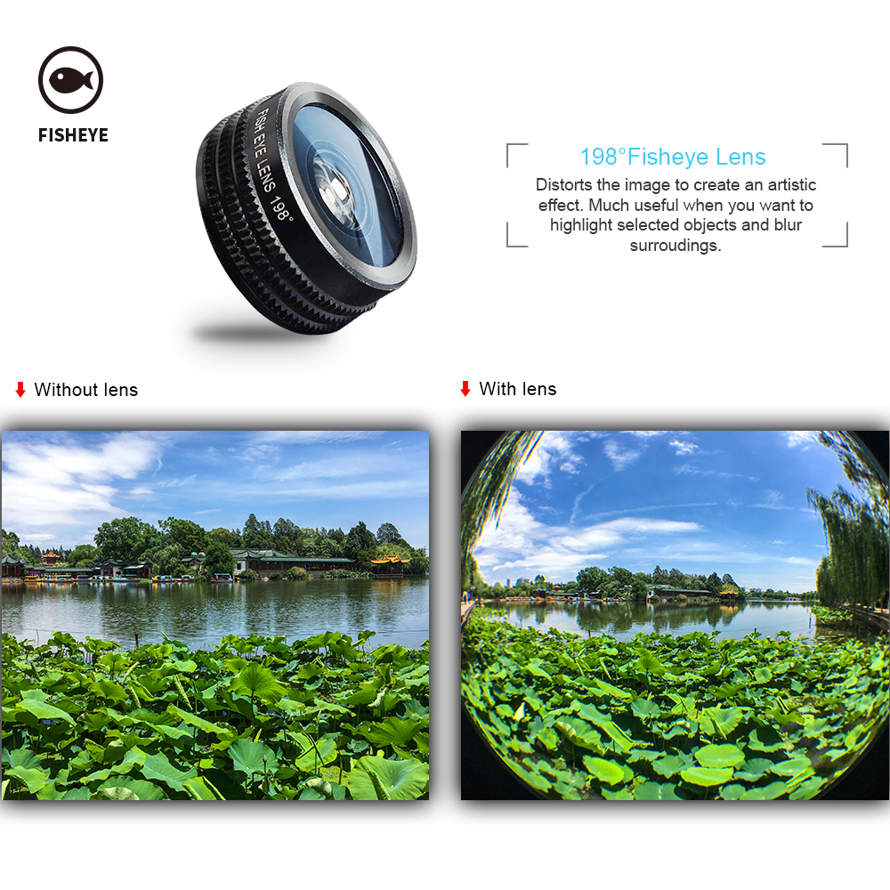 APEXEL Phone Camera Lens Kit Fish Eye Wide Angle/macro Lens CPL Kaleidoscope and 2X telephoto zoom Lens 7in1 for iPhone SAMSUNG 9