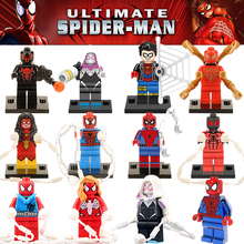 Marvel Classic Super Heroes Spiderman Venom Spider boy Spider Woman G-wen Building Block Figures Toys Children Gift(China)