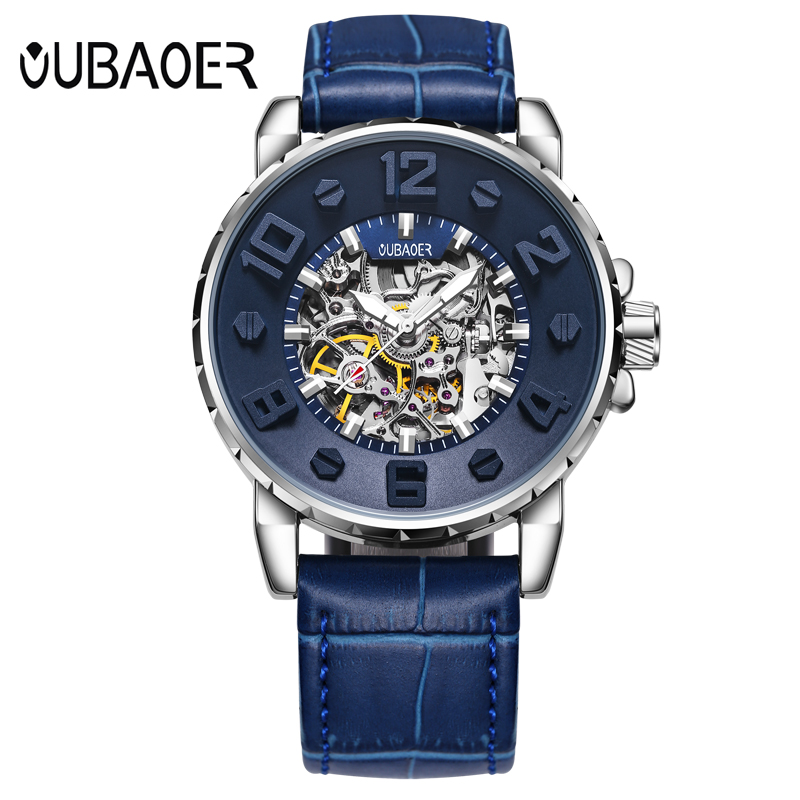 OUBAOER 3D Designer Automatic Mechanical Watch Men Top Brand Luxury Leather Blue Sport Watches Relogio Masculino Men Watch<br>