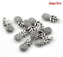 "Doreen Box Lovely 50PCs Antique Silver Pineapple Fruit Charm Pendants 19x9mm(6/8""x3/8"") (B21634)"