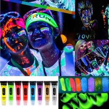 Body Oil Painting Dance Party make-up Neon Color Tempaorary Shining oil body painted Glow Cosplay Luminous fluorescent paint W30