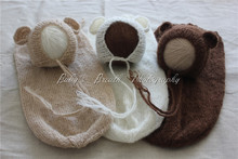 Wholesale 3 Sets Newborn Mohair Bear Bonnets And Snuggle Sacks Newborn Photo Props(China)