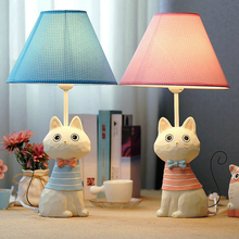 Princess table lamps cute cat iron tail table lamp kitten cartoon model bedside decorative LED dimmable lamp(China)