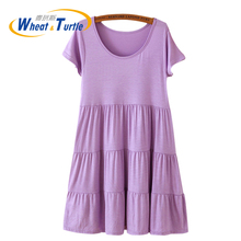 2017 New Arrival Maternity Dress Hot Sale Pleated Summer Dress For Pregnant Women Modal Cotton Maternity Short Sleeves Dress(China)