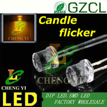 Yellow Candle flicker 5mm light diode 585-595nm 3.0-3.5V Flat top package DIP LED(Free shipping)