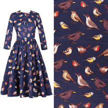 The bird printing High-density cotton original stretch poplin fabric for dress tissu au meter bright cloth DIY Width 140CM(China)