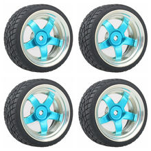 5 star Plating Wheel Rim & Soft Tires Tyre Blue  for RC 1:10 On Road Car Pack of 4