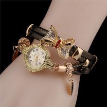 Retro Watch Women Crystal Rhinestone Butterfly Knot Colorful Leather Strap Analog Quartz Female Wrist Watches Relogio Feminino