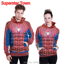 Unisex 3D Spider-man Hoodies Pullover DC Comic Hero Hooded Sweatshirts Casual Women Hoodie(China)