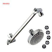 Dia 10cm Retro Brown Top Overhead Shower 5 Kinds Water Small Shower Head Chrome With Adjustable Shower Arm Shower Extension(China)