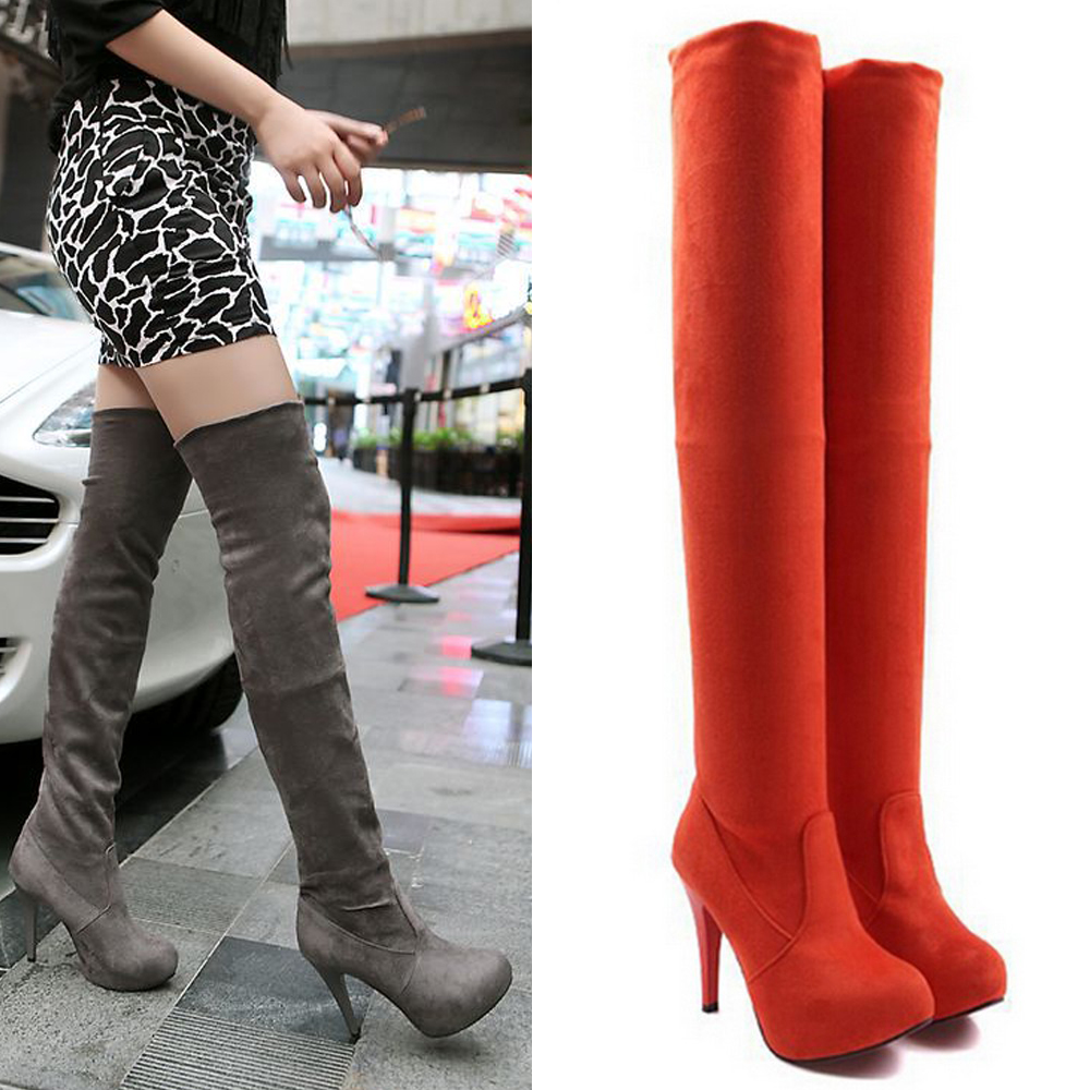 Plus size 33-43 Botines Female winter boots for women over the knee high thigh boots high heel suede boots botas mujer femininas<br><br>Aliexpress