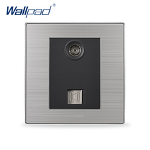 2017 Hot Sale Telephone And Television Socket Wallpad Luxury TV Socket Plate Black / Champagne Electrical Socket