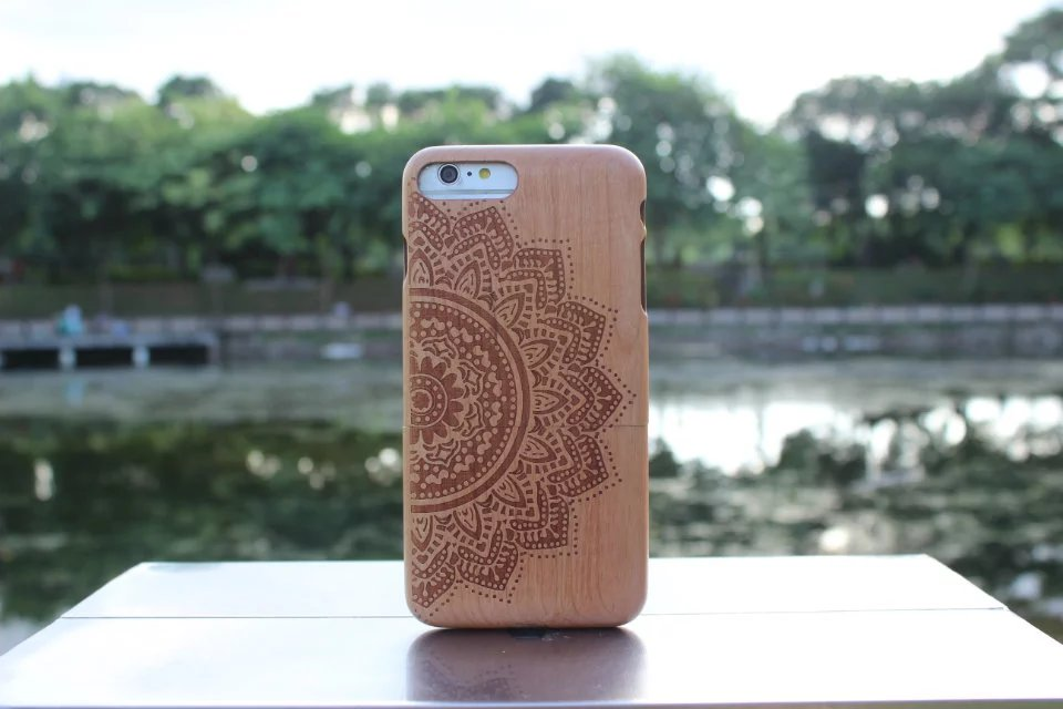 Natural Cherry Wood Mandala Phone Case For iPhone