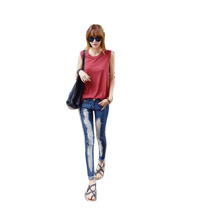 2017 Mid Waist Jeans Woman hole Skinny Pencil Pants Slim Denim Ripped Boyfriend Jeans For Women Elastic Black Ripped JeansОдежда и ак�е��уары<br><br><br>Aliexpress
