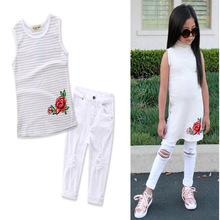 SAMGAMI 2017 SUMMER Fashion Girls Clothes Children Clothing set striped t shirt+hole pants Rose Baby Grils set for 2-7yrs wear