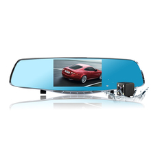 Best Dual lens Car dvr Mirror 5.0-inch Full HD 1080P Car Blue Rearview Mirror Camera Dvr Digital Video Recorder Auto Dash Camara