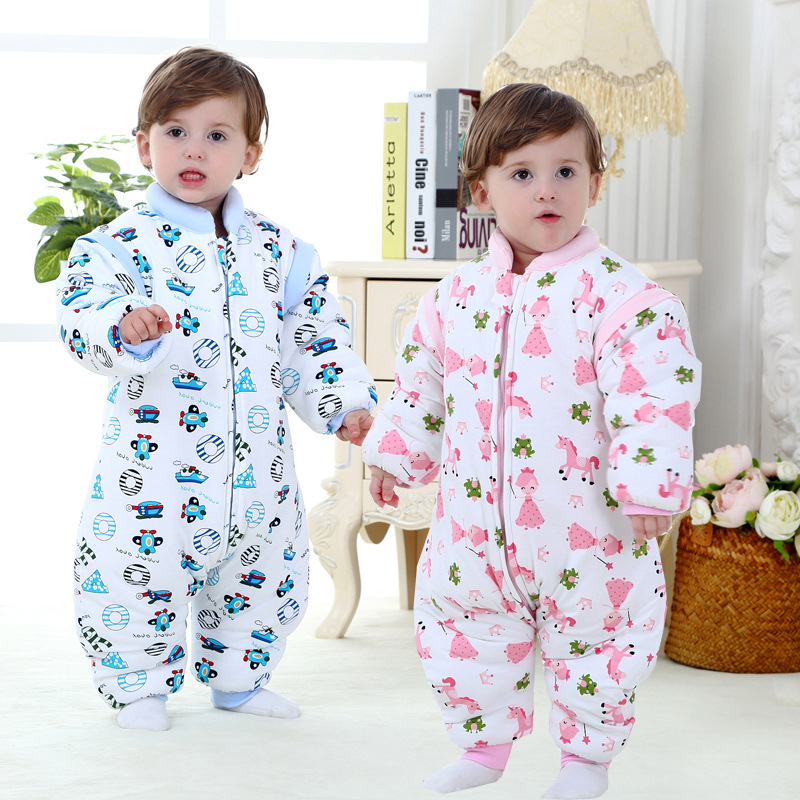 Baby sleeping bag anti kick spring and winter thick quilted cotton sleeping bags removable sleeve warm 0-3 years cute<br><br>Aliexpress