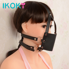Buy IKOKY Open Mouth Gag Bondage Restraints Sex Toys Couples Slave Leather Head Harness Adult Game Erotic Toys Mask Fetish