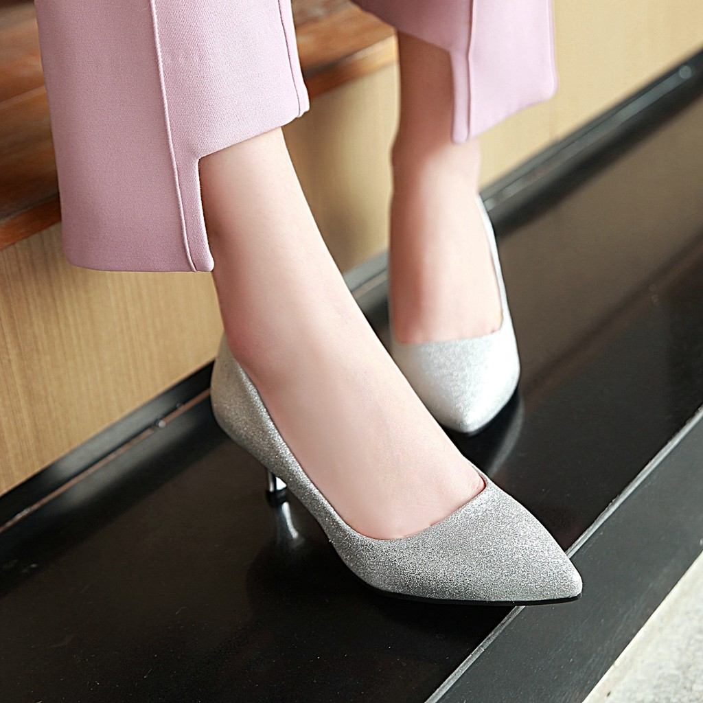 JIXIANGYAZHI brand 2018 sequined shoe sole pointed shallow mouth high heels shoes ladies shoes # C-050