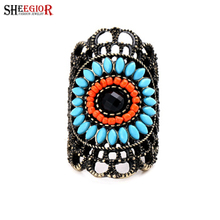 SHEEGIOR Bohemian Vintage Hollow Long Rings for Women Lovely Resin Sunflower Bronze Men's Ring Fashion Jewelry Accessories Gifts