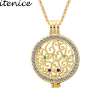 Itenice Fashion Jewelry  Accessory Classic Romantic Style Crystal Coin Pendant Necklace DIY Accessories Can Be Replaced