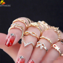 OPPOHERE 7PCS New Women Crystal Bowknot Knuckle Midi Mid Finger Tip Stacking Ring Set(China)