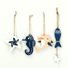 Color Random Modern Style Cute Wooden Fish Star Dolphin Hanging Nautical Decor Boat Ship Beach Wall Ornament  Wood craft
