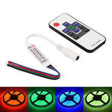5pcs RGB Controller DC12-24V Dimme Mini RF Wireless LED Remote Controller 4pin DC plug for RGB 5050/3528 LED Lights Strips(China)